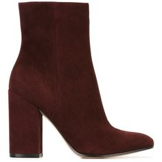Gianvito Rossi 'Rolling High' boots ($790) ❤ liked on Polyvore featuring shoes, boots, red, suede high heel boots, tall boots, round toe boots, red boots and red high heel shoes