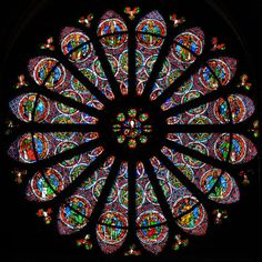 GOTHIC GLASS PAINTER Rose window 12th century Stained glass window Abbey of…