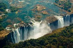 The Victoria Falls, located in southern Africa on the Zambezi River between the countries of Zambia and Zimbabwe.