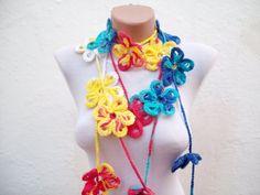 Colorful Scarf Long Necklace Crochet Lariat Scarf by scarfnurlu