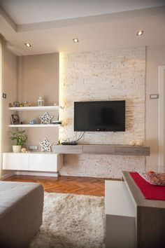 Simple and easy rules in modern living room decoration. Color palette for modern living room. Ideas Decoracion Salon, Plafond Design, Small Apartment Decorating, Living Room Tv, Contemporary Interior, Contemporary Office, Contemporary Style, Contemporary Building, Contemporary Cottage