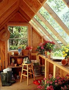 Potting Shed / Greenhouse. not a bad idea for an outside shed and gardening work room