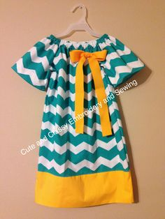 Little girls chevron dress Made by Sharon Runyan and Rachel Powell - Cute and Classy Embroidery and Sewing