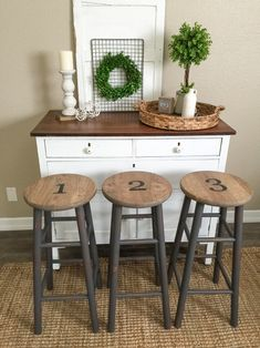Queenstown Gray Farmhouse Stools | General Finishes Design Center