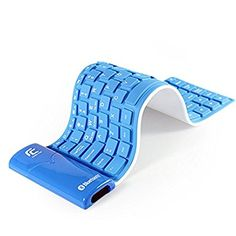 YUMQUA USB Wireless Bluetooth Portable Regular Size KB-6116 Waterproof Roll Up Silicon Flexible Foldable Keyboard for Android, IOS, Windows Tablet Ipad PC Mobile Phone Blue