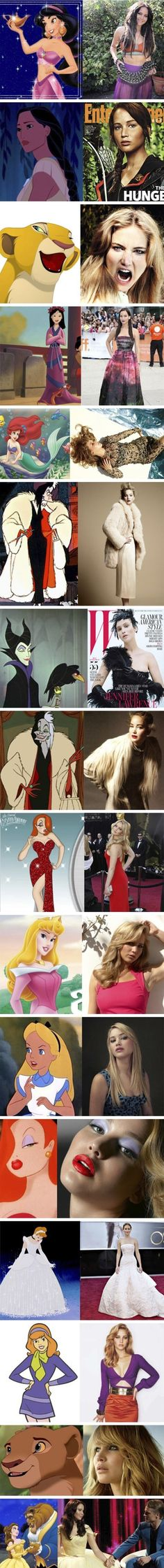 Jennifer Lawrence is all the characters. Another reason to love her. | See more about disney princesses, jennifer lawrence and disney.