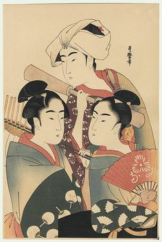 folding fan seller, round fan seller, barley pounder / utamaro / 1750 - 1806 Geisha, Bokashi, Art Asiatique, Art Japonais, China Painting, Japanese Painting, Art Institute Of Chicago, Japanese Prints, Japan Art