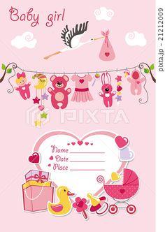 New born baby girl card shower invitation