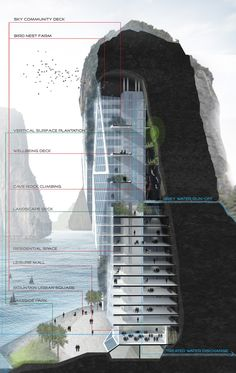 proposed by malaysian designers, the limestone skyscrapers seeks to intervene with the process of mining by constructing the buildings into the hills.