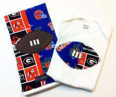 House Divided Football Onesie & Burp Cloth by SweetSeraphina #floridageorgia #florida gators #georgia bulldogs $24