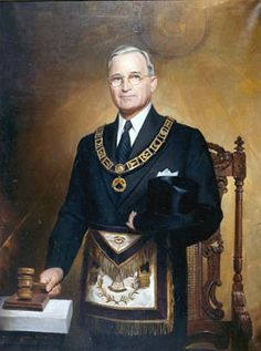 President Truman in the regalia of Grand Master of the Grand Lodge of Missouri, a post that he held from 1940 to 1941. President Truman joined the Masons in 1909. On October 19, 1945, he was coroneted a 33rd Degree Scottish Rite Mason. 33rd degree Freemason's make a Perfect Oath to the evil one which requires evil tasks done to seal the oath. Truman authorized the dropping of atomic bombs on Japan and the start of the Korean War.