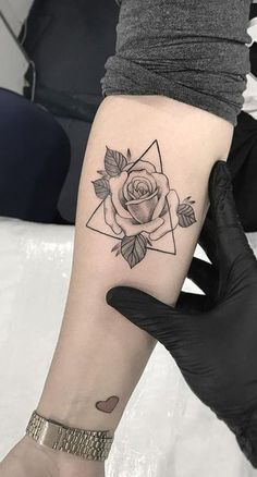 Small Rose Triangle Forearm Tattoo Ideas for Women Geometric Triangle Flower Arm. - Tattoo, Tattoo ideas, Tattoo shops, Tattoo actor, Tattoo art - Small Rose Triangle Forearm Tattoo Ideas for Women Geometric Triangle Flower Arm… - Arm Tats, Leg Tattoos, Body Art Tattoos, Sleeve Tattoos, Fake Tattoos, Tatoos, Arm Tattoos Forearm, Small Rose Tattoos, Hand Tattoo Small