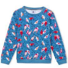 Blauwe sweater met vogeltjesprint