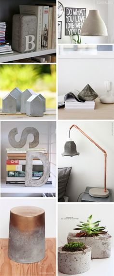 I've never worked with concrete, but seeing all these beautiful objects, make me want to give a try! Nunca he trabajado con concreto, pero ver estos objetos preciosos, me da ganas… Concrete Crafts, Concrete Art, Concrete Projects, Concrete Design, Diy Projects To Try, Diy Furniture, Diy Home Decor, Diy And Crafts, Diy Art