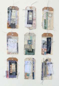 Tags, textile on paper. Online support covering all aspects of applying to art college. www.portfolio-oomph.com