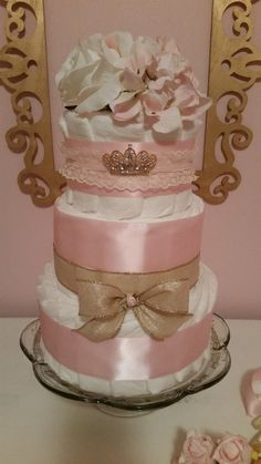 Pink and Gold Diaper Cake Shower Centerpiece by ItsUpInTheAttic