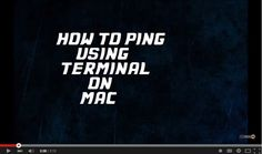 How To Ping Using #Terminal On #Mac