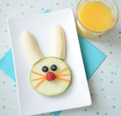 Easter candy overload? Work in a healthy Easter snack for the kids with this simple fruit bunny!