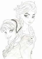 Anna and Elsa by niecoinna