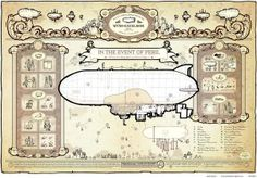 """""""In The Event Of Peril"""" Awesome steampunk zeppelin and air kraken safety instructions and evacuation plans by Dr Geof. Brilliant site from a very talented man! Steampunk House, Steampunk Wedding, Evacuation Plan, Neo Victorian, Dieselpunk, Zeppelin, Boy Room, We The People, Vintage Posters"""