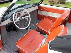 VW KARMANN GHIA SEDAN, ORIGINAL SEAT UPHOLSTERY FRONT/REAR 1961-1965 BRICK RED