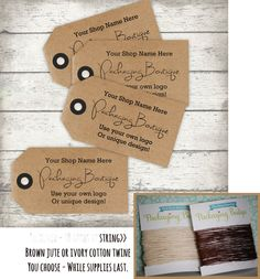 """Tags - custom design - 2"""" x  3.5"""" - Brown Kraft, Smooth white, Manilla Ivory, or White Linen Cardstock - Qty 40 - string and holes included"""
