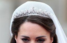 cartier_halo_tiara_wedding of Kate Middleton and Prince William Kate Middleton, Diamond Tiara, Tiaras And Crowns, Duchess Of Cambridge, Veil, Halo, Wedding Hairstyles, Vintage Jewelry, Swarovski