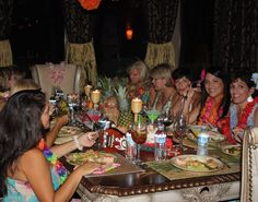 Good food, good friends and #Hawaiian themed decor from #Goodwill. #entertain #thrift #party