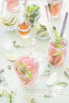 Isn't this gorgeous?? Pink Passionfruit Iced Tea with Lime, Kiwi, Mint & Thyme via two loves studio #hydrate