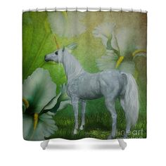 Lovely white unicorn horse surrounded by fantasy lily flowers shower curtain.  Design by Susan.
