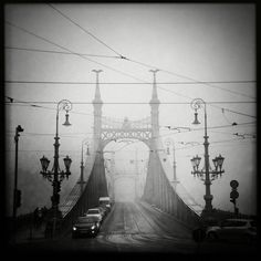 Photo of the day by Gergely Handó, Hipstography, Hipstamatic Urban Photography, Mobile Photography, Liberty Bridge, Capital Of Hungary, Old Bridges, Best Smartphone, Brooklyn Bridge, Black And White Photography, My Photos