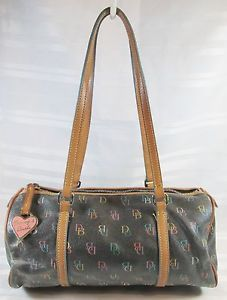 DOONEY-BOURKE-SIGNATURE-BLACK-BARREL-BAGUETTE-HANDBAG-FREE-SHIPPING
