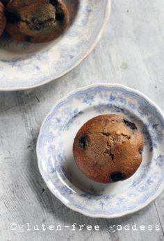 Gluten-Free Blueberry Flax Muffins @ Gluten-Free Goddess #glutenfree #muffins