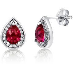 BERRICLE Sterling Silver Pear Simulated Ruby CZ Halo Wedding Stud Earrings featuring polyvore, women's fashion, jewelry, earrings, ruby, stud earrings, women's accessories, sparkly earrings, cz stud earrings, pear earrings and ruby earrings