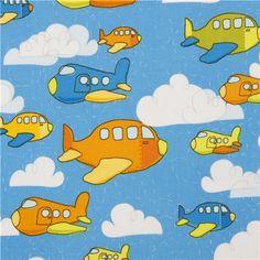 blue Riley Blake airplane fabric for boys
