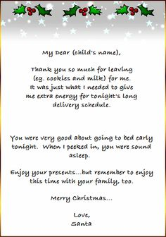 Easy free letter from santa magical package diy ideas pinterest thank you letter from santa christmas projects and sample employee holiday cover templates best free home design idea inspiration spiritdancerdesigns Choice Image