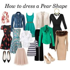 """""""How to dress a Pear Shape"""" by go2girl-123 on Polyvore Love the white blouse and dress. Green blouse? Not so much"""