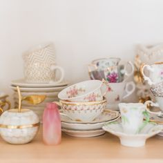 Lauren Conrad's collection of vintage teacups and trinkets.