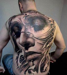 true taste male 3D back tattoo