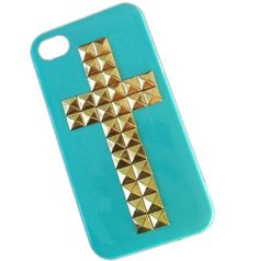 DIY Punk Cross Style Mobile Phone Case for iPhone 4 4S Mobile Cover with Studs and Spikes Blue Gold by Westlinke, http://www.amazon.com/dp/B00A892EWK/ref=cm_sw_r_pi_dp_fQtrrb1SN8230