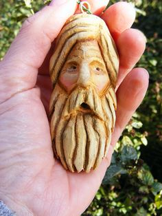 Wood carving santa ornament