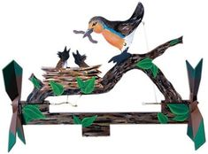 -- {color: {color: --> Dinnertime Whirligig Plan This great whirligig has lots of motion! Watch when the wind blows as mama bird pivots and the baby birds move up t Woodworking Furniture Plans, Cool Woodworking Projects, Cool Diy Projects, Wood Projects, Woodworking Tools, Woodworking Patterns, Youtube Woodworking, Woodworking Machinery, Custom Woodworking