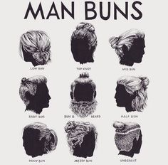 "Man buns: As T. Dekker used to tell: ""Long hair will make thee look dreadfully to thine enemies, and manly to thy friends: it is, in peace, an ornament; in war, a strong helmet"" -> Voor Tom Man Bun Styles, Hair And Beard Styles, Curly Hair Styles, Mens Long Hair Styles, Long Hair For Men, Man Bun Hairstyles, Latest Hairstyles, Men's Grooming, Haircuts For Men"
