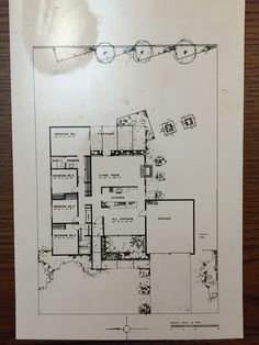 Eichler Homes floor plan with 4 bed 3 bath (Original at UCLA Library Special Collection, A. Vintage House Plans, Modern House Plans, House Floor Plans, Joseph Eichler, Midcentury Modern, Modern Vintage Homes, Mid Century Ranch, Mid Century House, Architectural Section