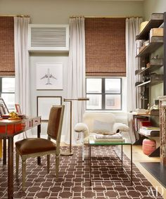 Nate Berkus, Bamboo Shades & Drapery Panels to disguise short windows