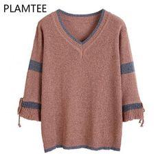 033d622b27 Korean Flare Sleeve V-Neck Sweater