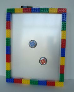 Lego inspired magnetic dry erase memo board and magnet set - teacher gift, bedroom decoration - Metallic Background
