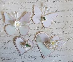 Scrapbooking embellishments, Butterflires and Hearts, Shabby Chic
