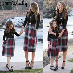 Brand New 2018 Women Family Matching Dress Fashion Mom Girls Long Sleeve Plaid O-neck Dress Mother And Daughter Clothes Newest 1