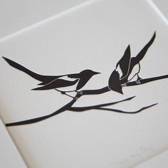 Two for Joy Magpie letterpress print by emmaleecheng on Etsy